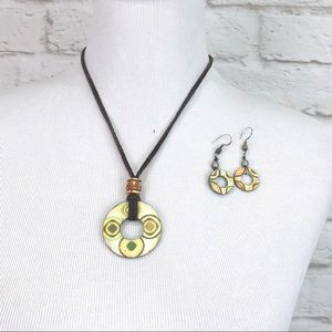 Boho leather cord medallion necklace w/ earrings